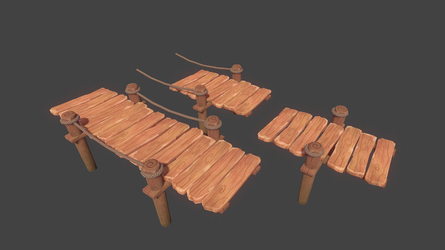 Toon Modular Bridge - Game Props royalty-free 3d model - Preview no. 2