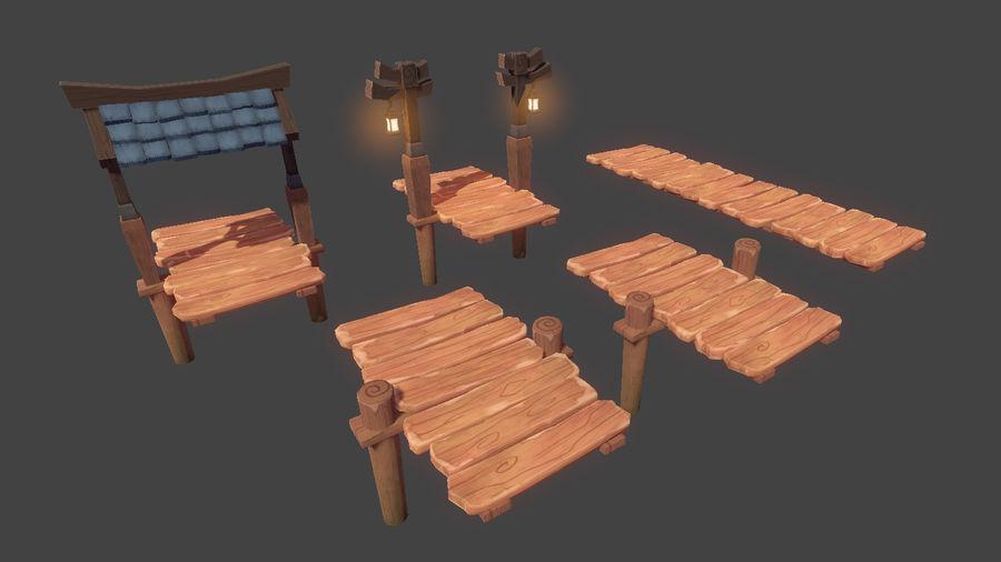 Toon Modular Bridge - Game Props royalty-free 3d model - Preview no. 3