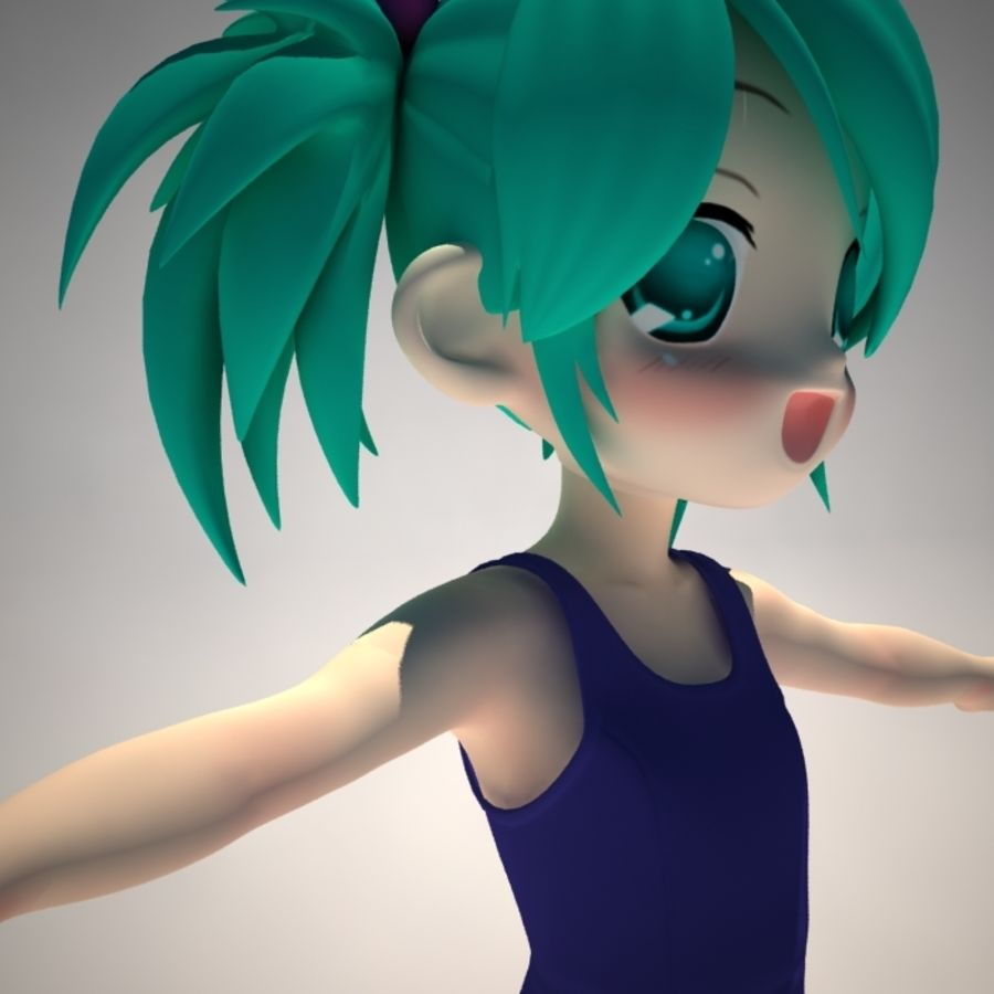 anime girl royalty-free 3d model - Preview no. 6