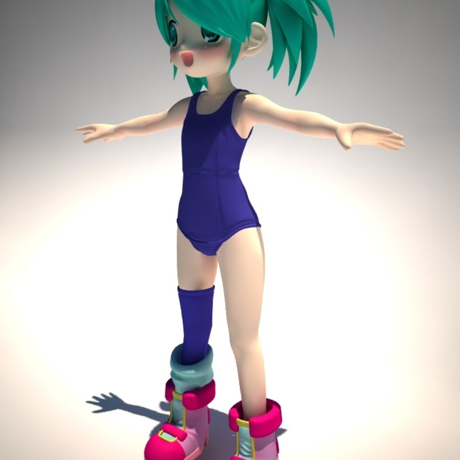 anime girl royalty-free 3d model - Preview no. 1