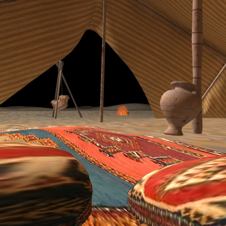 Tente des Arabes du désert royalty-free 3d model - Preview no. 3
