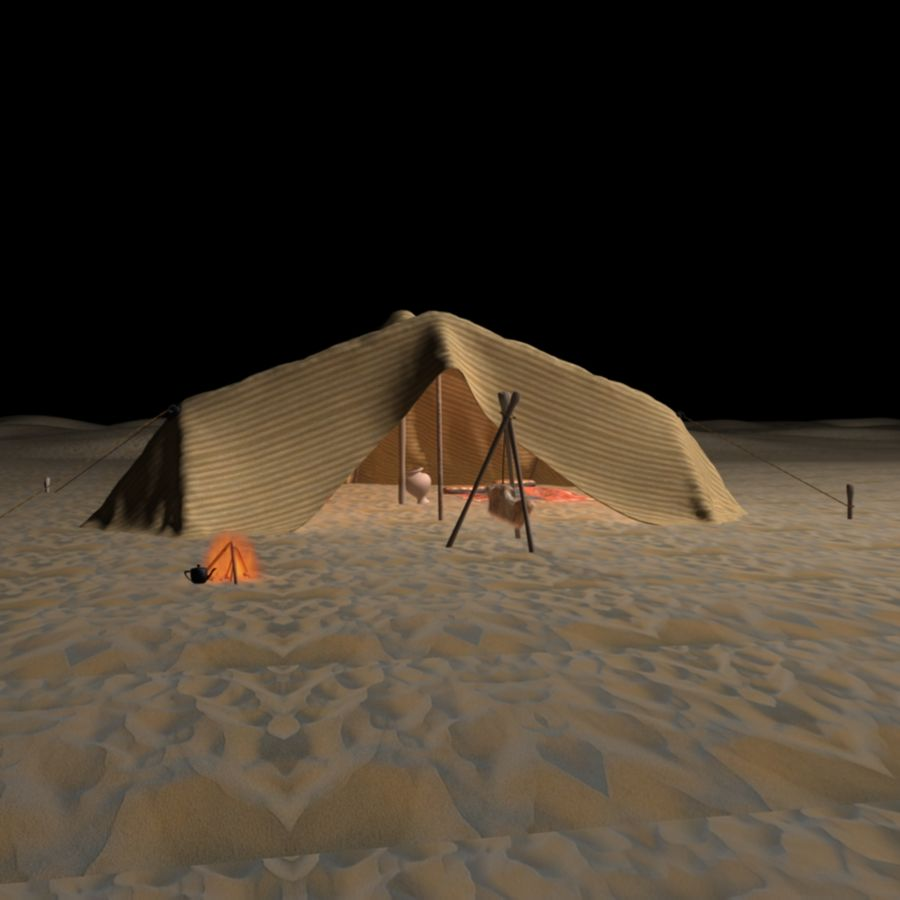 Tente des Arabes du désert royalty-free 3d model - Preview no. 4