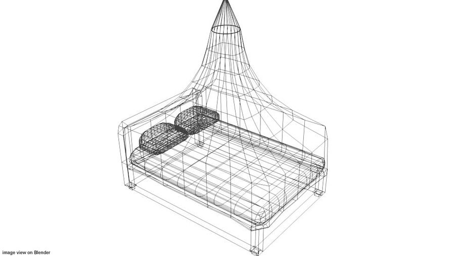 Bed - Canopy Bed royalty-free 3d model - Preview no. 5