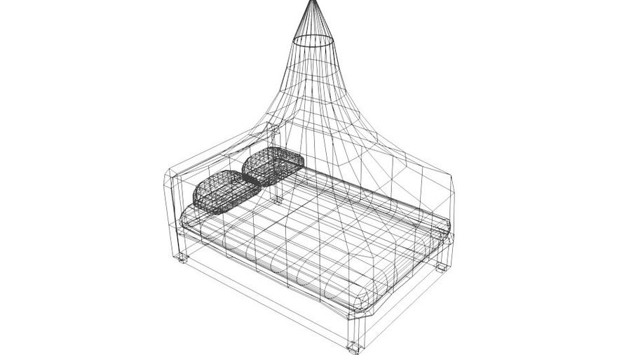 Bed - Canopy Bed royalty-free 3d model - Preview no. 4