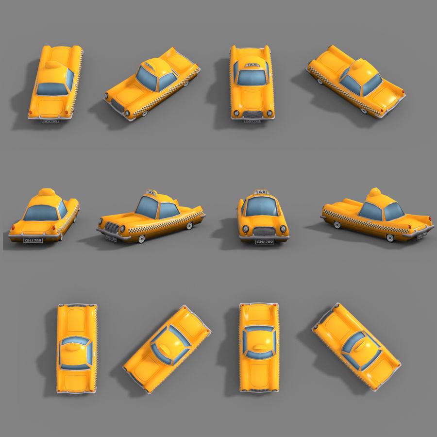 低ポリ漫画タクシー royalty-free 3d model - Preview no. 3