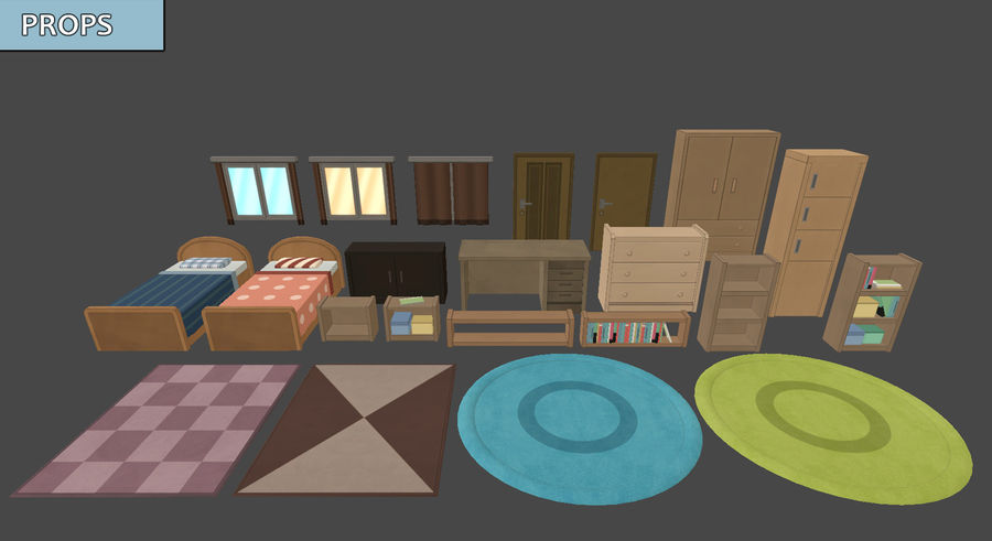 Anime Rooms royalty-free 3d model - Preview no. 6