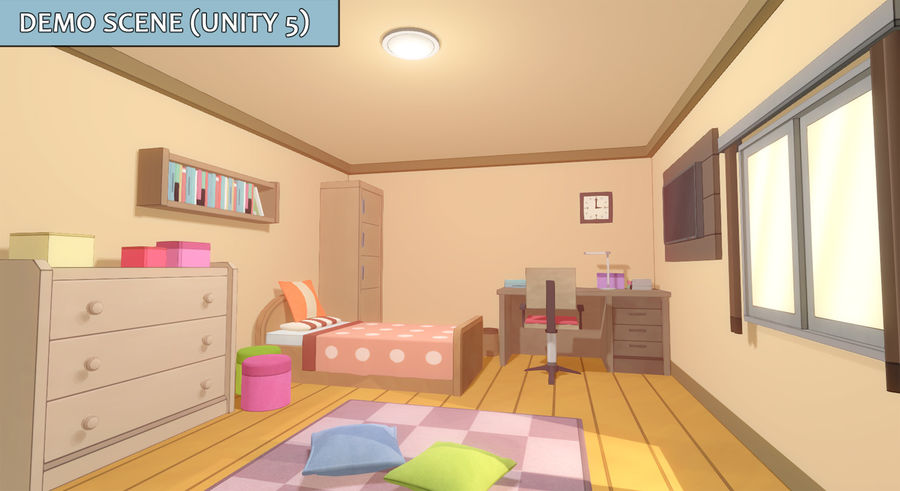 Anime Rooms royalty-free 3d model - Preview no. 2