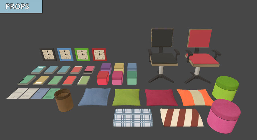 Anime Rooms royalty-free 3d model - Preview no. 7