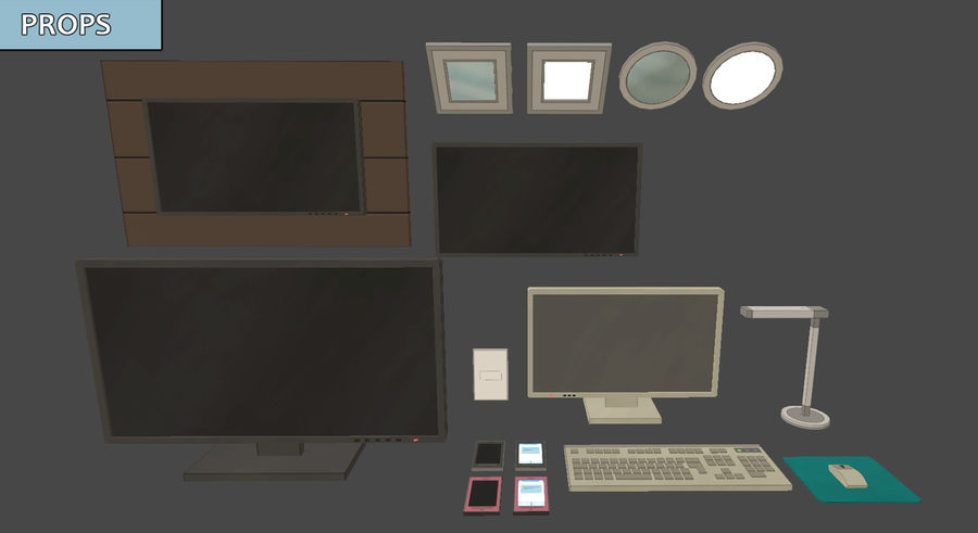 Anime Rooms royalty-free 3d model - Preview no. 8