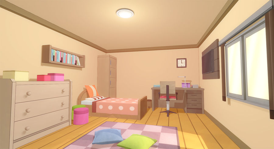 Anime Rooms royalty-free 3d model - Preview no. 1