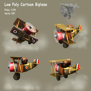 Low poly Cartoon WW1 Biplane 3d model