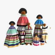Familie der Seminolpuppen 3d model