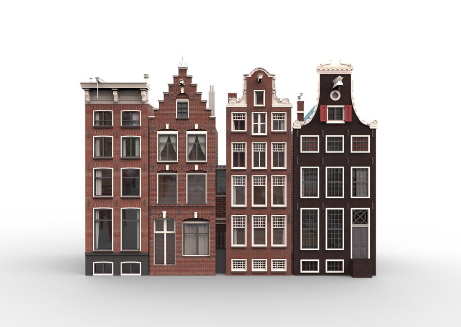 Case di Amsterdam royalty-free 3d model - Preview no. 1