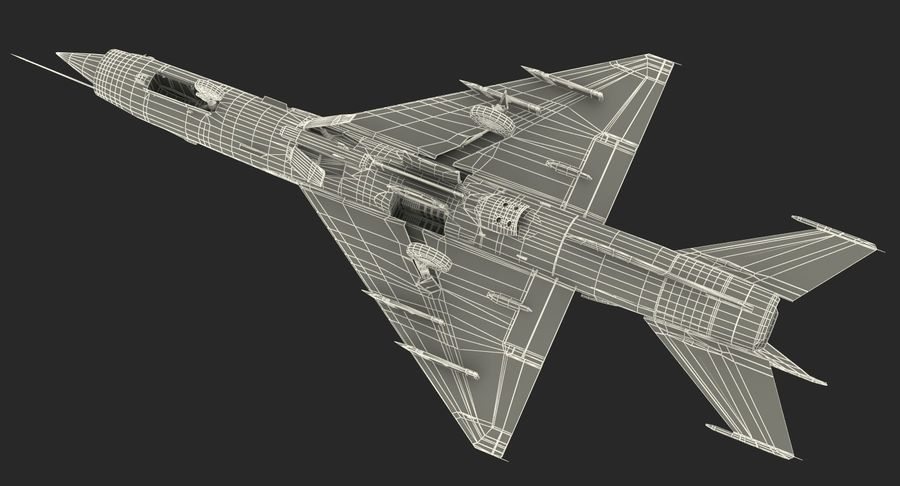 Fighter MiG-21 Fishbed russo royalty-free 3d model - Preview no. 25