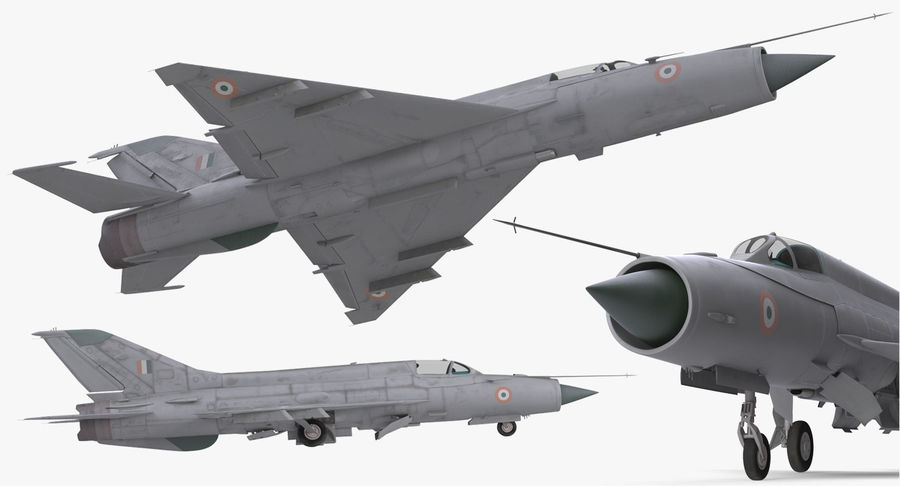 MiG-21 Bison Indian Air Force IAF royalty-free 3d model - Preview no. 11