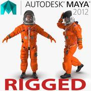 Американский астронавт в улучшенном костюме для спасения экипажа ACES Rigged for Maya 3d model