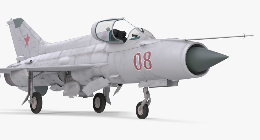 Fighter MiG-21 Fishbed Russian Rigged 3D Model royalty-free 3d model - Preview no. 7
