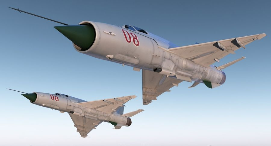 Fighter MiG-21 Fishbed Russian Rigged 3D Model royalty-free 3d model - Preview no. 4