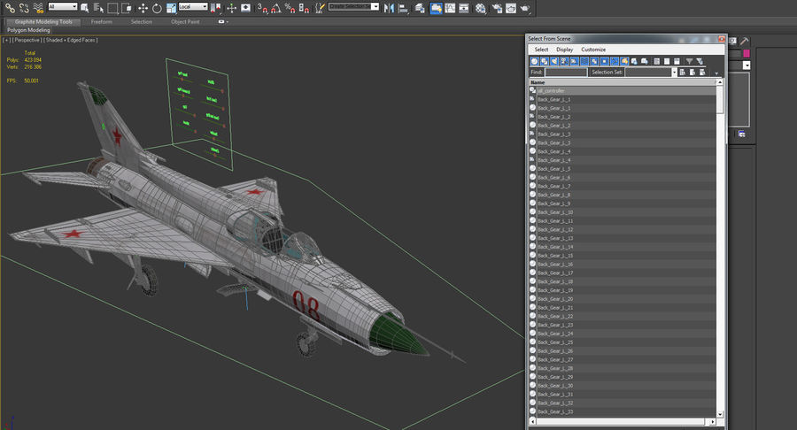 Fighter MiG-21 Fishbed Russian Rigged 3D Model royalty-free 3d model - Preview no. 23