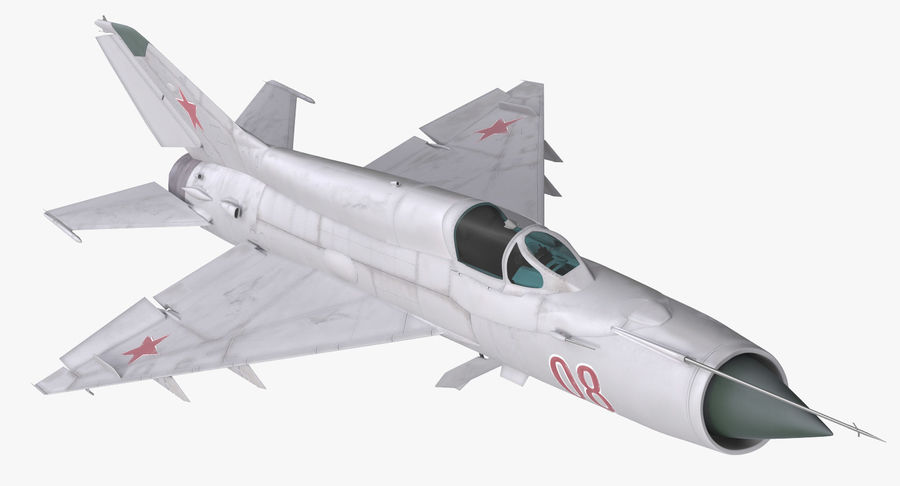 Fighter MiG-21 Fishbed Russian Rigged 3D Model royalty-free 3d model - Preview no. 2