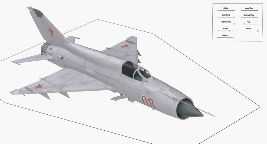Fighter MiG-21 Fishbed Russian Rigged 3D Model royalty-free 3d model - Preview no. 18