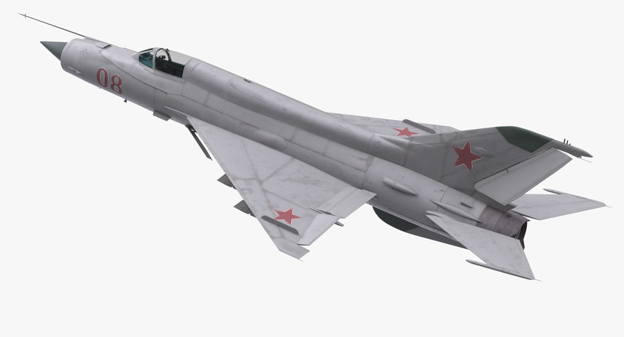 Fighter MiG-21 Fishbed Russian Rigged 3D Model royalty-free 3d model - Preview no. 6