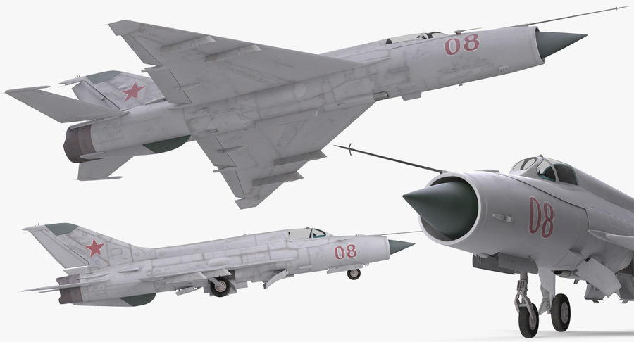 Fighter MiG-21 Fishbed Russian Rigged 3D Model royalty-free 3d model - Preview no. 11