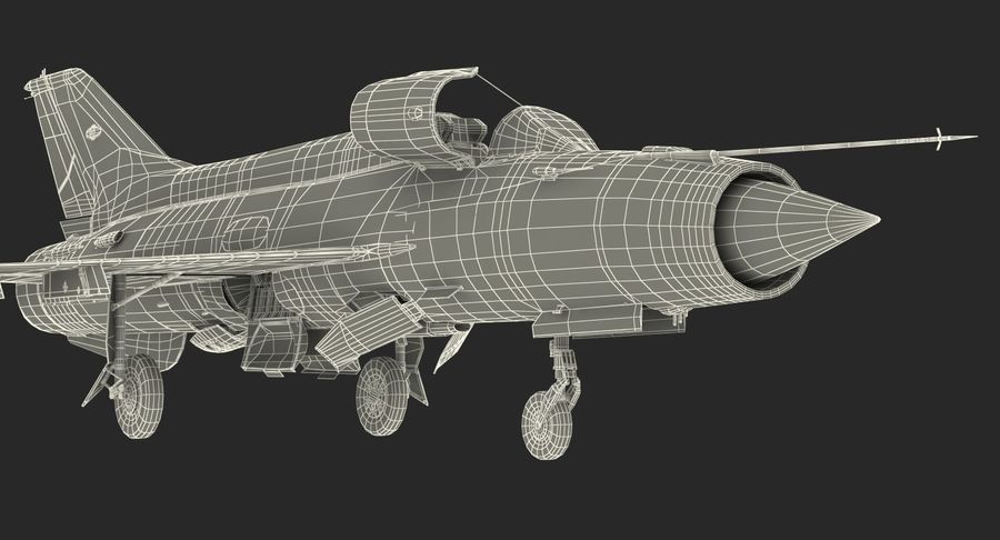 Fighter MiG-21 Fishbed Russian Rigged 3D Model royalty-free 3d model - Preview no. 24