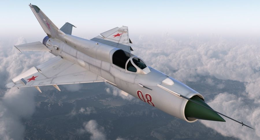 Fighter MiG-21 Fishbed Russian Rigged 3D Model royalty-free 3d model - Preview no. 3