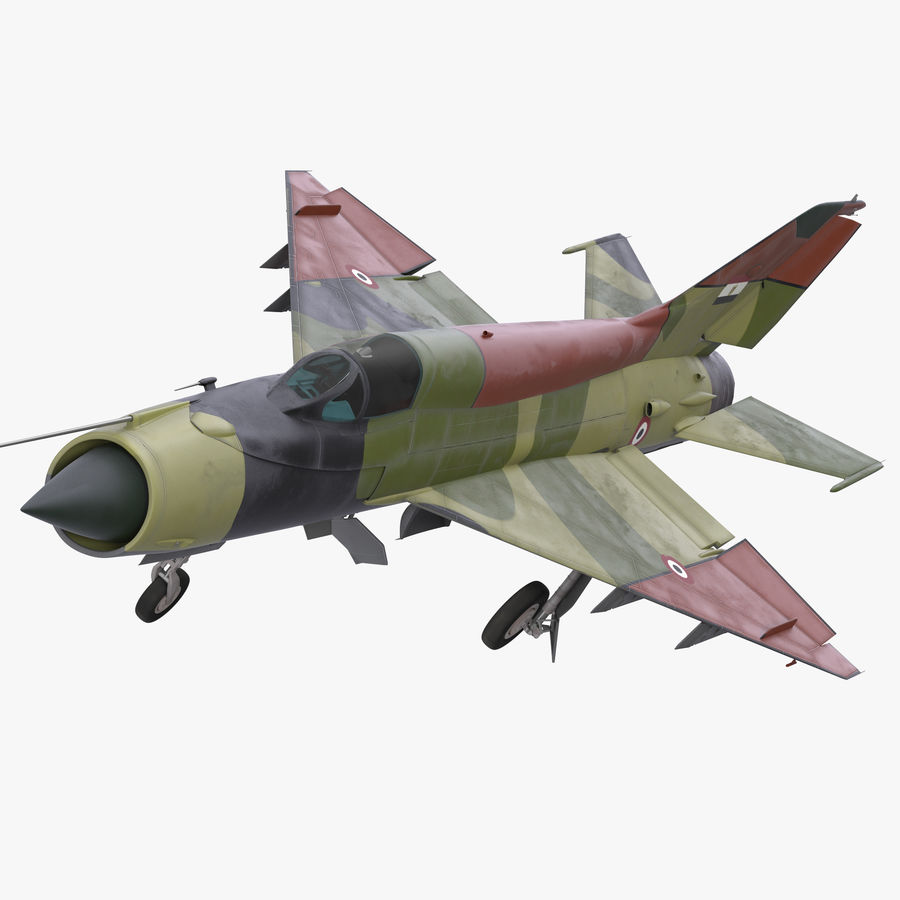 MiG-21 Egyptian Air Force Rigged 3D Model royalty-free 3d model - Preview no. 1