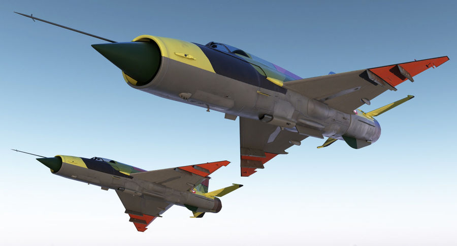 MiG-21 Egyptian Air Force Rigged 3D Model royalty-free 3d model - Preview no. 4