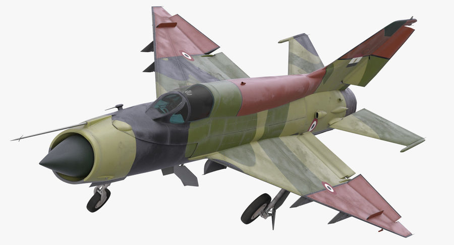 MiG-21 Egyptian Air Force Rigged 3D Model royalty-free 3d model - Preview no. 2