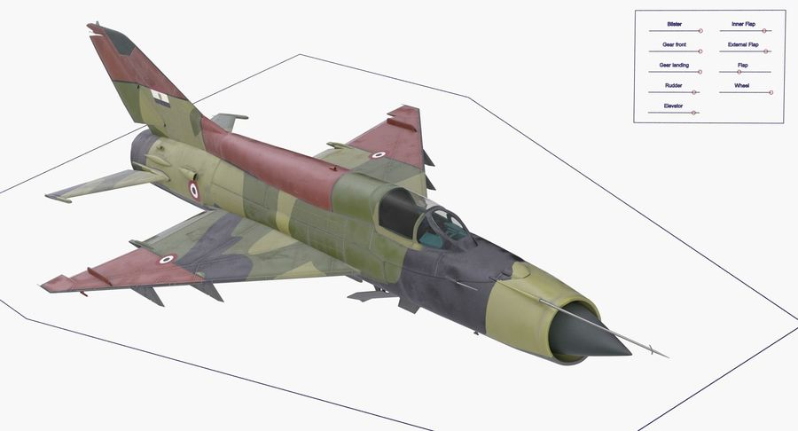 MiG-21 Egyptian Air Force Rigged 3D Model royalty-free 3d model - Preview no. 18