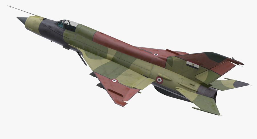 MiG-21 Egyptian Air Force Rigged 3D Model royalty-free 3d model - Preview no. 6