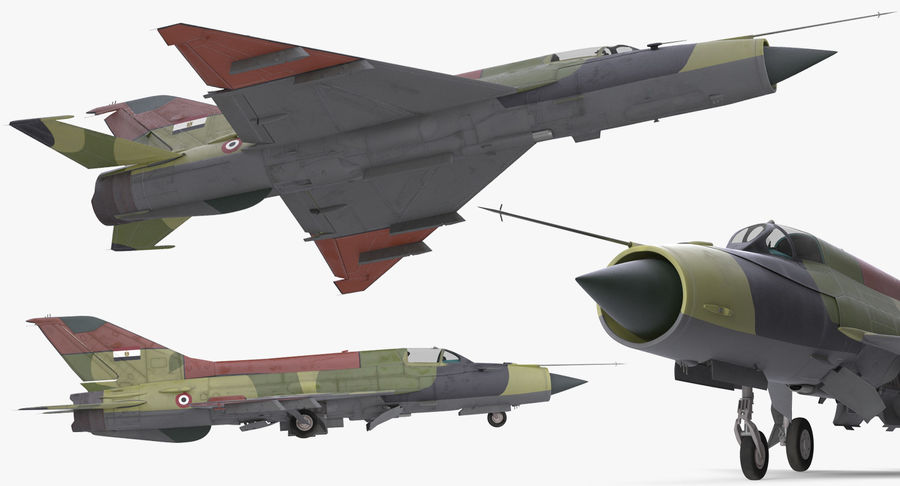 MiG-21 Egyptian Air Force Rigged 3D Model royalty-free 3d model - Preview no. 11