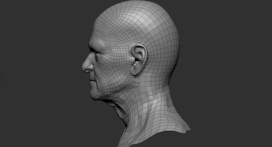 Visage masculin royalty-free 3d model - Preview no. 10