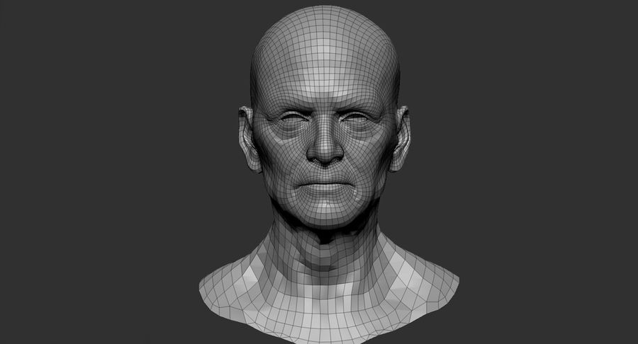 Visage masculin royalty-free 3d model - Preview no. 9