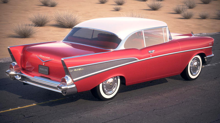 Chevrolet Bel Air Hardtop Coupe 1957 royalty-free 3d model - Preview no. 10