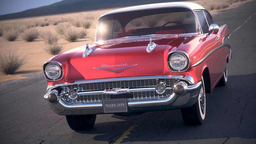 Chevrolet Bel Air Hardtop Coupe 1957 royalty-free 3d model - Preview no. 2