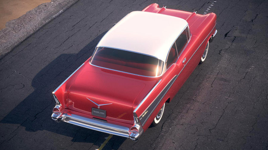 Chevrolet Bel Air Hardtop Coupe 1957 royalty-free 3d model - Preview no. 15