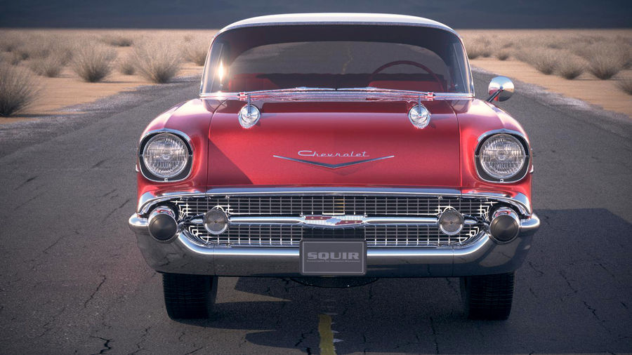 Chevrolet Bel Air Hardtop Coupe 1957 royalty-free 3d model - Preview no. 6