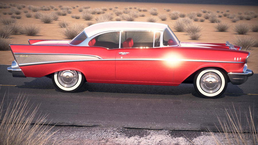 Chevrolet Bel Air Hardtop Coupe 1957 royalty-free 3d model - Preview no. 12