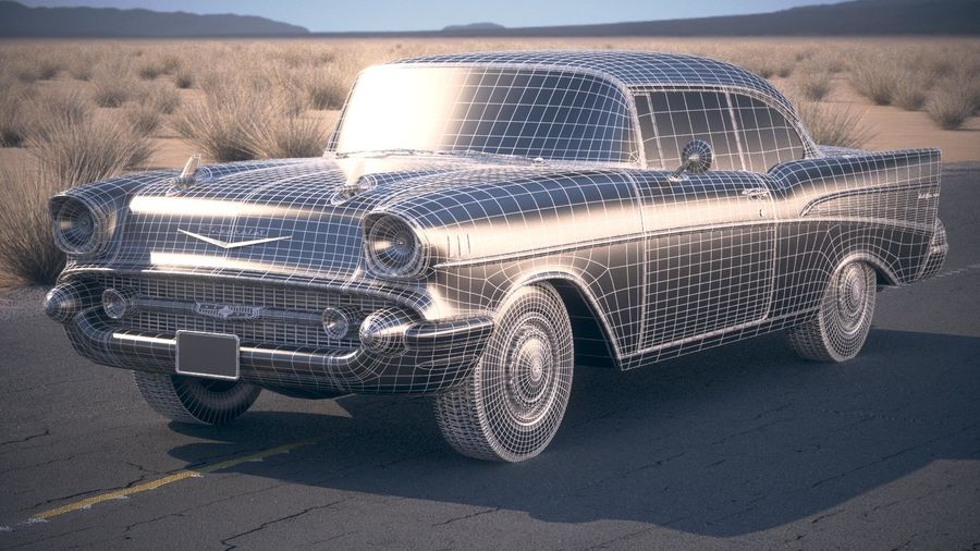 Chevrolet Bel Air Hardtop Coupe 1957 royalty-free 3d model - Preview no. 20