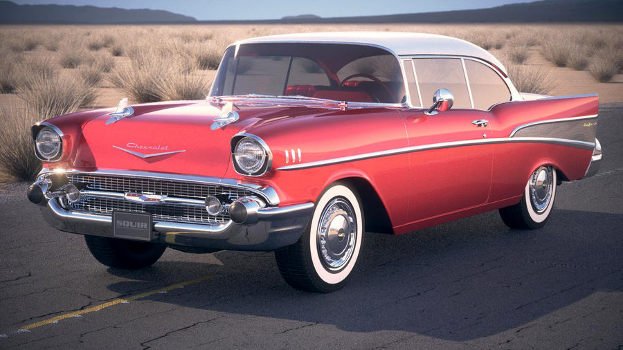 Chevrolet Bel Air Hardtop Coupe 1957 royalty-free 3d model - Preview no. 1