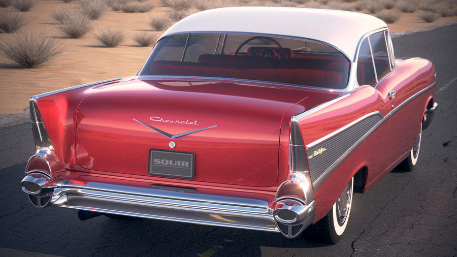 Chevrolet Bel Air Hardtop Coupe 1957 royalty-free 3d model - Preview no. 11