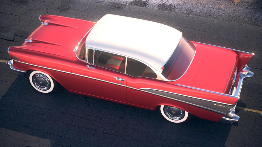 Chevrolet Bel Air Hardtop Coupe 1957 royalty-free 3d model - Preview no. 16