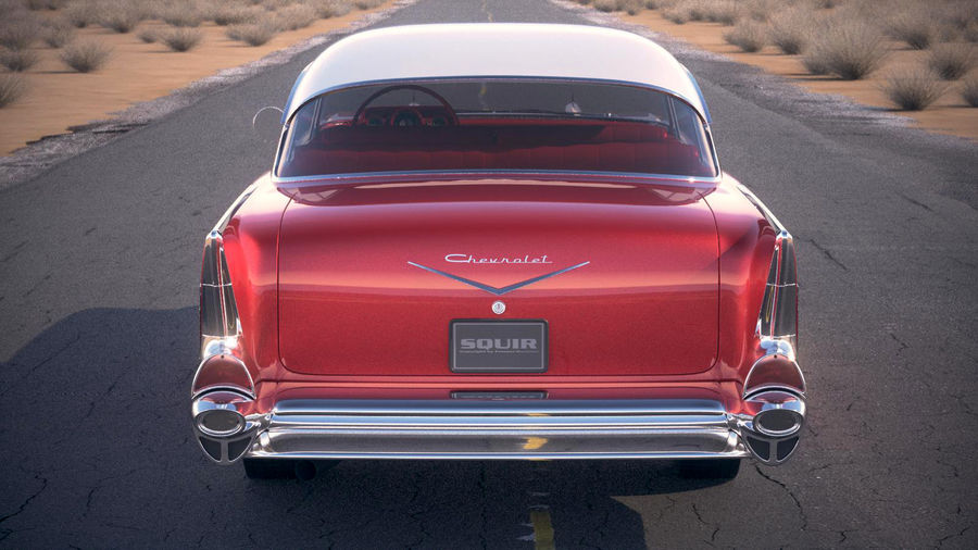 Chevrolet Bel Air Hardtop Coupe 1957 royalty-free 3d model - Preview no. 7