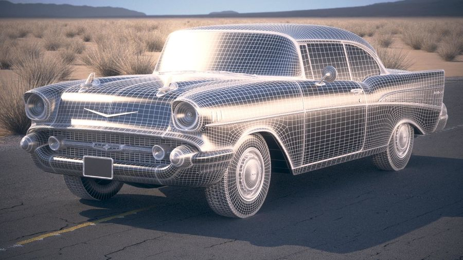 Chevrolet Bel Air Hardtop Coupe 1957 royalty-free 3d model - Preview no. 18