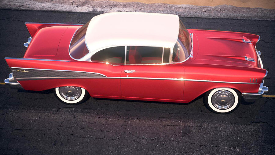 Chevrolet Bel Air Hardtop Coupe 1957 royalty-free 3d model - Preview no. 13