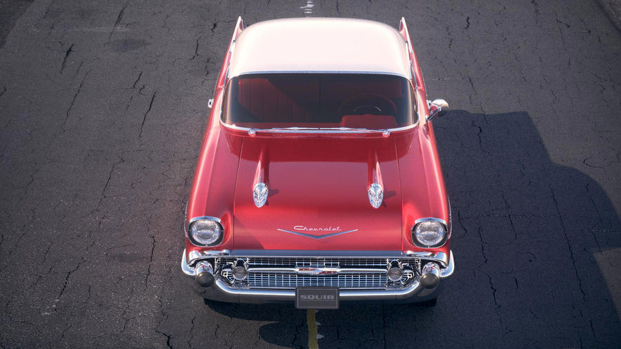 Chevrolet Bel Air Hardtop Coupe 1957 royalty-free 3d model - Preview no. 17